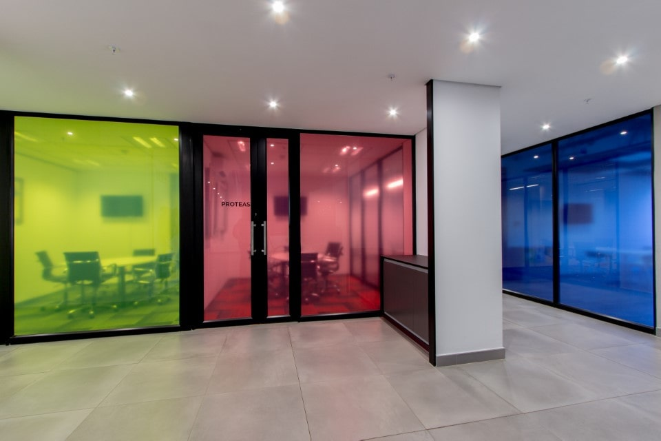 Plae Interior Design Bidvest Rental Coloured Glass passage