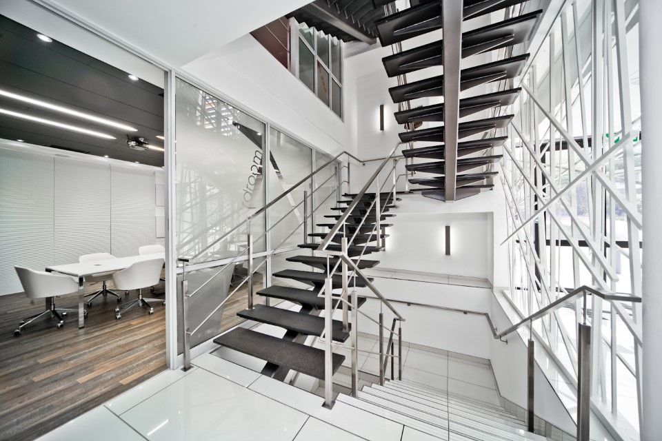 Plae Interiors ESA Offices Reception Staircase