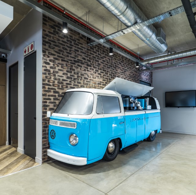 Plae Interiors Zimmer Biomet VW Drinks Bus